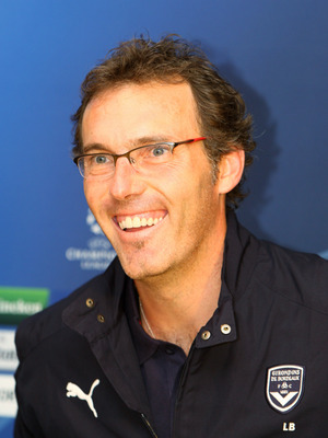 LONDON - SEPTEMBER 15:  Laurent Blanc, Manager of Bordeaux, smiles during a press conference before the UEFA Champions League match between Chelsea and Bordeaux, at Stamford Bridge on September 15, 2008 in London, England.  (Photo by Phil Cole/Getty Image