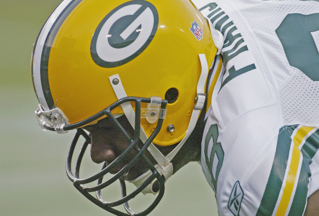 Green Bay Packers tight end Bubba Franks lines up   during an August 27, 2004 NFL pre-season game against the Jacksonville Jaguars  in Jacksonville, Florida.  (Photo by Al Messerschmidt/Getty Images)
