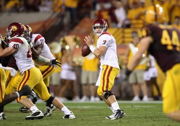 TEMPE, AZ - NOVEMBER 07:  Quarterback Matt Barkley #7 of the USC Trojans drops back to pass during the college football game against the Arizona State Sun Devils at Sun Devil Stadium on November 7, 2009 in Tempe, Arizona. The Trojans defeated the Devils 1