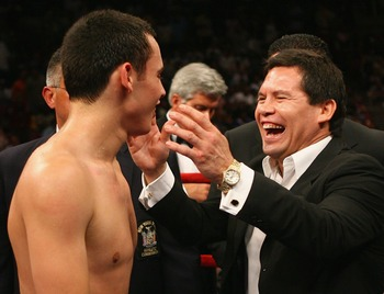 NEW YORK - JUNE 09:  Julio Cesar Chavez Jr. of Mexico celebrates winning his bout against Grover Wiley  during their Welterweight bout on June 9, 2007 at Madison Square Garden in New York City.  (Photo by Nick Laham/Getty Images)