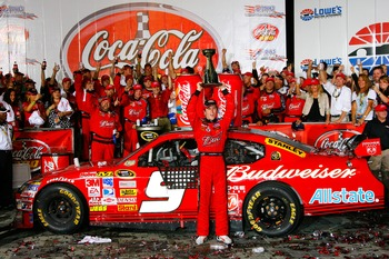Kasey Kahne celebrates his 2008 Coca-Cola 600 win
