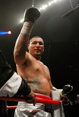 LAS VEGAS - APRIL 11:  Chris Arreola celebrates after knocking out Jameel McCline in the fourth round of their heavyweight bout at the Mandalay Bay Events Center April 11, 2009 in Las Vegas, Nevada.  (Photo by Ethan Miller/Getty Images)