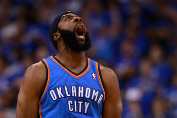 DALLAS, TX - MAY 19:  James Harden #13 of the Oklahoma City Thunder reacts after making a three-pointer in the fourth quarter while taking on the Dallas Mavericks in Game Two of the Western Conference Finals during the 2011 NBA Playoffs at American Airlin