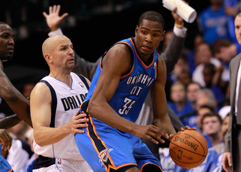 DALLAS, TX - MAY 17:  Kevin Durant #35 of the Oklahoma City Thunder posts up Jason Kidd #2 of the Dallas Mavericks in Game One of the Western Conference Finals during the 2011 NBA Playoffs at American Airlines Center on May 17, 2011 in Dallas, Texas. NOTE