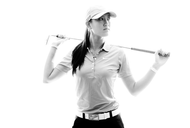 CITY OF INDUSTRY, CA - MARCH 22:  (Editor's Note: This image has been converted to black and white.) Michelle Wie poses for a portrait on March 23, 2011 at the Industry Hills Golf Club in the City of Industry, California.  (Photo by Jonathan Ferrey/Getty