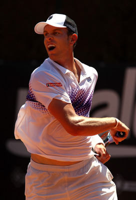 ROME, ITALY - MAY 10:  Sam Querrey of USA in action during his first round match against Kevin Anderson of South Africa during day three of the Internazionali BNL d'Italia at the Foro Italico Tennis Centre on May 10, 2011 in Rome, Italy.  (Photo by Alex L