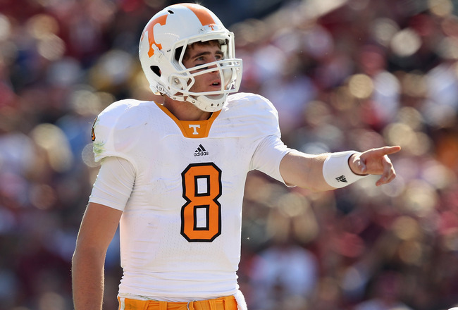 COLUMBIA, SC - OCTOBER 30:  Tyler Bray #8 of the Tennessee Volunteers against the South Carolina Gamecocks during their game at Williams-Brice Stadium on October 30, 2010 in Columbia, South Carolina.  (Photo by Streeter Lecka/Getty Images)