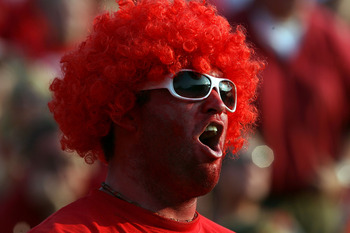 LOUISVILLE, KY - AUGUST 31:  A fan of the Louisville Cardinals is pictured during the game against the Kentucky Wildcats at Papa John's Cardinal Stadium on August 31, 2008 in Louisville, Kentucky.  (Photo by Andy Lyons/Getty Images)
