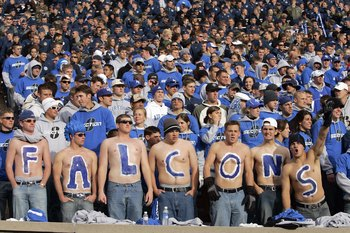 AIR FORCE ACADEMY, CO - NOVEMBER 11: Fans of the Air Force Falcons cheer in the stands during the game against the Notre Dame Fighting Irish on November 11, 2006 at Falcon Stadium on the Air Force Academy near Colorado Springs, Colorado.  (Photo by Brian