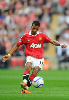 LONDON, ENGLAND - APRIL 16: Nani of Manchester United on the ball during the FA Cup sponsored by E.ON semi final match between Manchester City and Manchester United at Wembley Stadium on April 16, 2011 in London, England.  (Photo by Mike Hewitt/Getty Imag