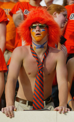CHARLOTTESVILLE, VA - SEPTEMBER 25:  A fan of the Virginia Cavaliers looks on as they face the Syracuse Orangemen at Scott Stadium on September 25, 2004 in Charlottesville, Virginia. Virginia won 31-10. (Photo by Doug Pensinger/Getty Images)