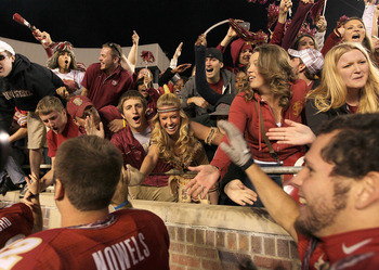 TALLAHASSEE, FL - NOVEMBER 27:  The Florida State Seminoles celebrates a win against the Florida Gators at Doak Campbell Stadium on November 27, 2010 in Tallahassee, Florida.  (Photo by Mike Ehrmann/Getty Images)