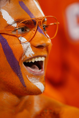 CLEMSON, SC - NOVEMBER 21:  A fan of the Clemson Tigers watches on against the Virginia Cavaliers during their game at Memorial Stadium on November 21, 2009 in Clemson, South Carolina.  (Photo by Streeter Lecka/Getty Images)