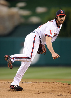 ANAHEIM, CA - APRIL 22:  Dan Haren #24 of the Los Angeles Angels pitches against the Boston Red Sox at Angel Stadium on April 22, 2011 in Anaheim, California.  (Photo by Harry How/Getty Images)