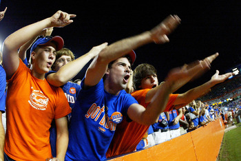 GAINESVILLE, FL - SEPTEMBER 10:  Fans of the University of Florida Gators cheer on their team in the fourth quarter against the Louisiana Tech Bulldogs at Ben Hill Griffin Stadium on September 10, 2005 in Gainesville, Florida. Florida defeated Louisiana T