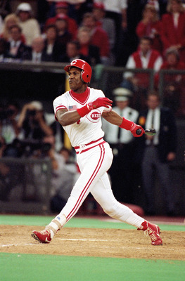 CINCINNATI - OCTOBER 17:  Eric Davis #44 of the Cincinnati Reds swings at a pitch during Game two of the 1990 World Series against the Oakland Athletics at Riverfront Stadium on October 17, 1990 in Cincinnati, Ohio. The Reds defeated the A's 5-4 in 10 inn