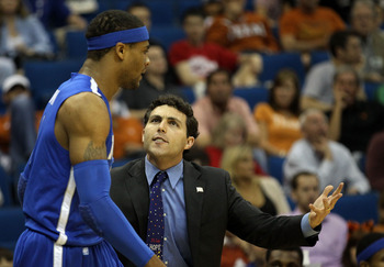TULSA, OK - MARCH 18:  Head coach Josh Pastner of the Memphis Tigers speaks with Will Coleman #0 during the second round game against the Arizona Wildcats in the 2011 NCAA men's basketball tournament at BOK Center on March 18, 2011 in Tulsa, Oklahoma.  (P