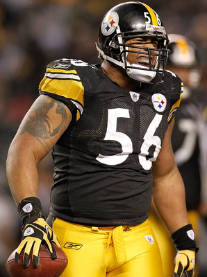 PITTSBURGH, PA - JANUARY 15:  Linebacker LaMarr Woodley #56 of the Pittsburgh Steelers reacts after recovering a fumble by the Baltimore Ravens in the third quarter of the AFC Divisional Playoff Game at Heinz Field on January 15, 2011 in Pittsburgh, Penns