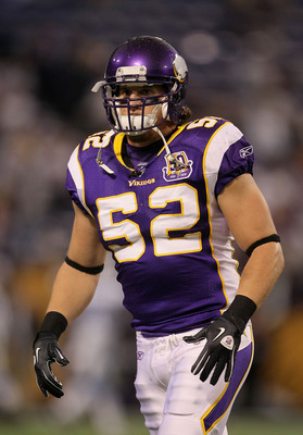 MINNEAPOLIS - SEPTEMBER 26:  Chad Greenway #52 of the Minnesota Vikings plays against the Detroit Lions at Mall of America Field on September 26, 2010 in Minneapolis, Minnesota.  (Photo by Jeff Gross/Getty Images)