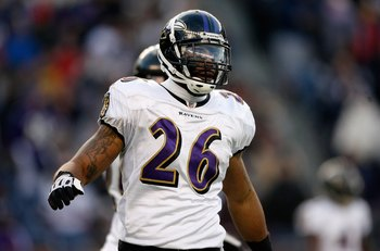 FOXBORO, MA - JANUARY 10:  Dawan Landry #26 of the Baltimore Ravens looks on against the New England Patriots during the 2010 AFC wild-card playoff game at Gillette Stadium on January 10, 2010 in Foxboro, Massachusetts. The Ravens won 33-14.  (Photo by El