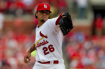 ST. LOUIS, MO - MAY 7: Starter Kyle Lohse #26 of the St. Louis Cardinals pitches against the Milwaukee Brewers at Busch Stadium on May 7, 2011 in St. Louis, Missouri.  (Photo by Dilip Vishwanat/Getty Images)
