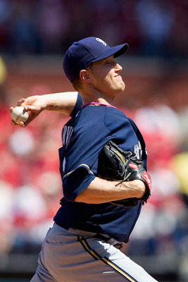 ST. LOUIS, MO - MAY 8: Starter Chris Narveson #38 of the Milwaukee Brewers pitches against the St. Louis Cardinals at Busch Stadium on May 8, 2011 in St. Louis, Missouri.  (Photo by Dilip Vishwanat/Getty Images)