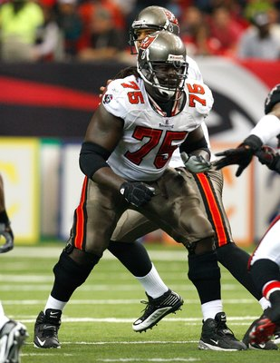ATLANTA - NOVEMBER 29:  Davin Joseph #75 of the Tampa Bay Buccaneers against the Atlanta Falcons at Georgia Dome on November 29, 2009 in Atlanta, Georgia.  (Photo by Kevin C. Cox/Getty Images)