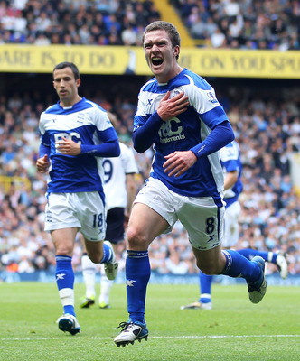 LONDON, ENGLAND - MAY 22:  Craig Gardner of Birmingham City celebrates his goal during the Barclays Premier League match between Tottenham Hotspur and Birmingham City at White Hart Lane on May 22, 2011 in London, England.  (Photo by Julian Finney/Getty Im
