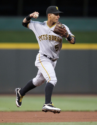 CINCINNATI, OH - MAY 18: Ronny Cedeno #5 of the Pittsburgh Pirates throws to first base for an out during the game against the Cincinnati Reds at Great American Ball Park on May 18, 2011 in Cincinnati, Ohio.  (Photo by Andy Lyons/Getty Images)