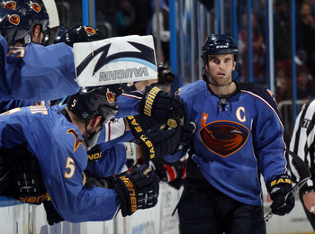 ATLANTA, GA - MARCH 27:  Andrew Ladd #16 of the Atlanta Thrashers celebrates his shoot out winning goal against the Ottawa Senators in a 5-4 victory at the Philips Arena on March 27, 2011 in Atlanta, Georgia.  (Photo by Bruce Bennett/Getty Images)