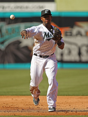 MIAMI GARDENS, FL - MAY 21: Hanley Ramirez #2 of the Florida Marlins fields a ground ball during a game against the Tampa Bay Rays at Sun Life Stadium on May 21, 2011 in Miami Gardens, Florida. (Photo by Mike Ehrmann/Getty Images)