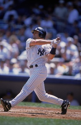 2 Aug 2001:  Chuck Knoblauch #11 of the New York Yankees at bat during the game against the Texas Rangers at Yankee stadium in the Bronx, New York. The Rangers defeated the Yankees 12-2.Mandatory Credit: Al Bello  /Allsport