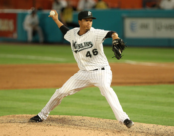 MIAMI GARDENS, FL - APRIL 26:  Leo Nunez #46 of the Florida Marlins pitches during a game against the Los Angeles Dodgers at Sun Life Stadium on April 26, 2011 in Miami Gardens, Florida.  (Photo by Mike Ehrmann/Getty Images)
