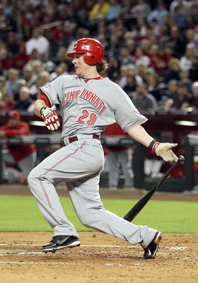 PHOENIX, AZ - APRIL 08:  Ryan Hanigan #29 of the Cincinnati Reds bats against the Arizona Diamondbacks during the Major League Baseball home opening game at Chase Field on April 8, 2011 in Phoenix, Arizona. The Diamondbacks defeated the Reds 13-2.  (Photo