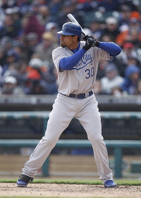 DETROIT, MI - APRIL 08:  Kila Ka'aihue #30 of the Kansas City Royals bats against the Detroit Tigers at Comerica Park on April 8, 2011 in Detroit, Michigan.  (Photo by Gregory Shamus/Getty Images)