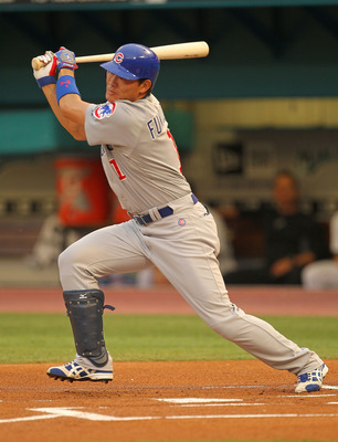MIAMI GARDENS, FL - MAY 19: Kosuke Fukudome #1 of the Chicago Cubs hits during a game against  the Florida Marlins at Sun Life Stadium on May 19, 2011 in Miami Gardens, Florida.  (Photo by Mike Ehrmann/Getty Images)
