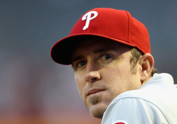 PHOENIX, AZ - APRIL 26:  Chase Utley #26 of the Philadelphia Phillies sits in the dugout during the Major League Baseball game against the Arizona Diamondbacks at Chase Field on April 26, 2011 in Phoenix, Arizona. The Diamondbacks defeated the Phillies 7-