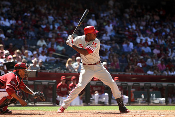 PHOENIX, AZ - APRIL 27:  John Mayberry #15 of the Philadelphia Phillies bats against the Arizona Diamondbacks during the Major League Baseball game at Chase Field on April 27, 2011 in Phoenix, Arizona.  The Phillies defeated the Diamondbacks 8-4.  (Photo