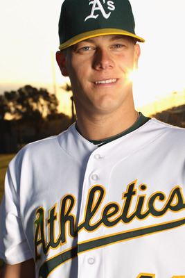 PHOENIX, AZ - FEBRUARY 24:  Andrew Bailey #40 of the Oakland Athletics poses for a portrait during media photo day at Phoenix Municipal Stadium on February 24, 2011 in Phoenix, Arizona.  (Photo by Ezra Shaw/Getty Images)