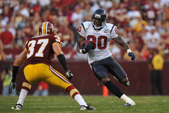 LANDOVER, MD - SEPTEMBER 19:  Andre Johnson #80 of the Houston Texans runs the ball against the Washington Redskins at FedExField on September 19, 2010 in Landover, Maryland. The Texans defeated the Redskins in overtime 30-27. (Photo by Larry French/Getty