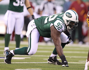EAST RUTHERFORD, NJ - AUGUST 27:  Shaun Ellis #92 of the New York Jets in action against the Washington Redskins  during their preseason game on August 27, 2010 at the New Meadowlands Stadium  in East Rutherford, New Jersey.  (Photo by Al Bello/Getty Imag