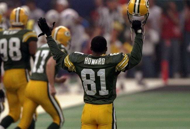 26 Jan 1997:  Wide receiver Desmond Howard of the Green Bay Packers celebrates during Super Bowl XXXI against the New England Patriots at the Superdome in New Orleans, Louisiana.  The Packers won the game, 35-21. Mandatory Credit: Brian Bahr  /Allsport