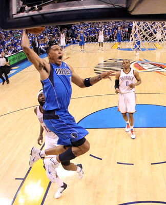 OKLAHOMA CITY, OK - MAY 21:  Shawn Marion #0 of the Dallas Mavericks goes up for a dunk in the second quarter while taking on the Oklahoma City Thunder in Game Three of the Western Conference Finals during the 2011 NBA Playoffs at Oklahoma City Arena on M