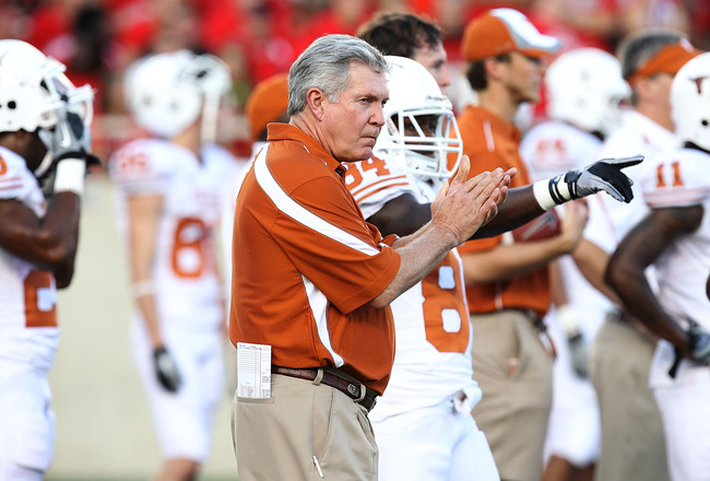 LUBBOCK, TX - SEPTEMBER 18:  Head coach Mack Brown of the Texas Longhorns at Jones AT&T Stadium on September 18, 2010 in Lubbock, Texas.  (Photo by Ronald Martinez/Getty Images)