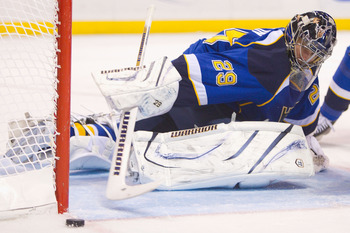 ST. LOUIS, MO - DECEMBER 16: Ty Conklin #29 of the St. Louis Blues looks to make a save against the Los Angeles Kings at the Scottrade Center on December 16, 2010 in St. Louis, Missouri.  (Photo by Dilip Vishwanat/Getty Images)