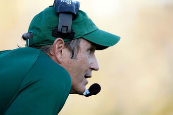 COLUMBIA, MO - NOVEMBER 07:  Head coach Art Briles of the Baylor Bears watches from the sidelines during the game against the Missouri Tigers at Faurot Field at Memorial Stadium on November 7, 2009 in Columbia, Missouri.  (Photo by Jamie Squire/Getty Imag