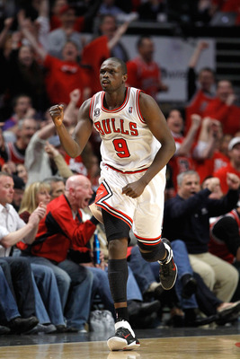 CHICAGO, IL - MAY 15:  Luol Deng #9 of the Chicago Bulls reacts against the Miami Heat in Game One of the Eastern Conference Finals during the 2011 NBA Playoffs on May 15, 2011 at the United Center in Chicago, Illinois. The Bulls won 103-82. NOTE TO USER: