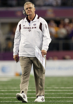 ARLINGTON, TX - JANUARY 07:  Head coach Mike Sherman of the Texas A&M Aggies during the AT&T Cotton Bowl at Cowboys Stadium on January 7, 2011 in Arlington, Texas.  (Photo by Ronald Martinez/Getty Images)
