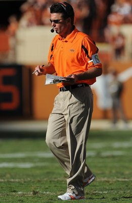 AUSTIN, TX - OCTOBER 25:  Head coach Mike Gundy of the Oklahoma State Cowboys during play against the Texas Longhorns at Texas Memorial Stadium on October 25, 2008 in Austin, Texas.  (Photo by Ronald Martinez/Getty Images)