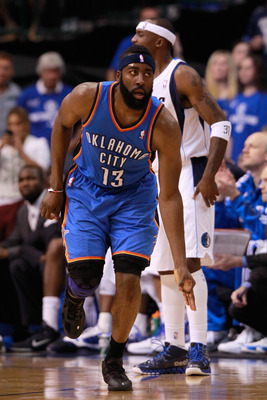 DALLAS, TX - MAY 19:  James Harden #13 of the Oklahoma City Thunder reacts after making a three-pointer in the second half while taking on the Dallas Mavericks in Game Two of the Western Conference Finals during the 2011 NBA Playoffs at American Airlines